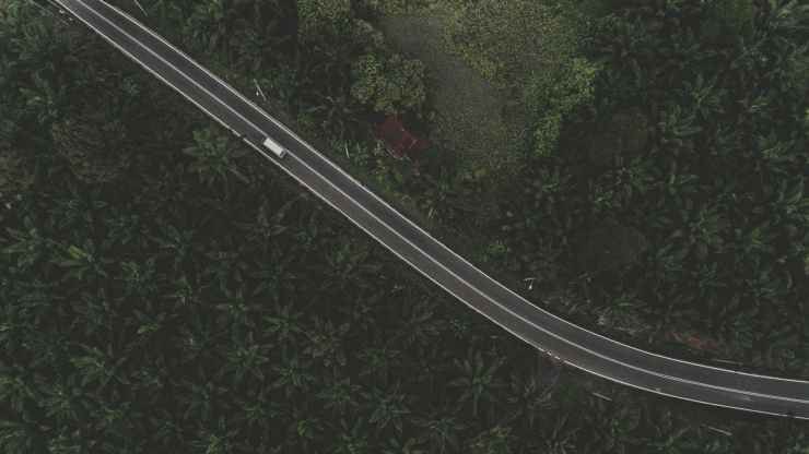 white truck on black road
